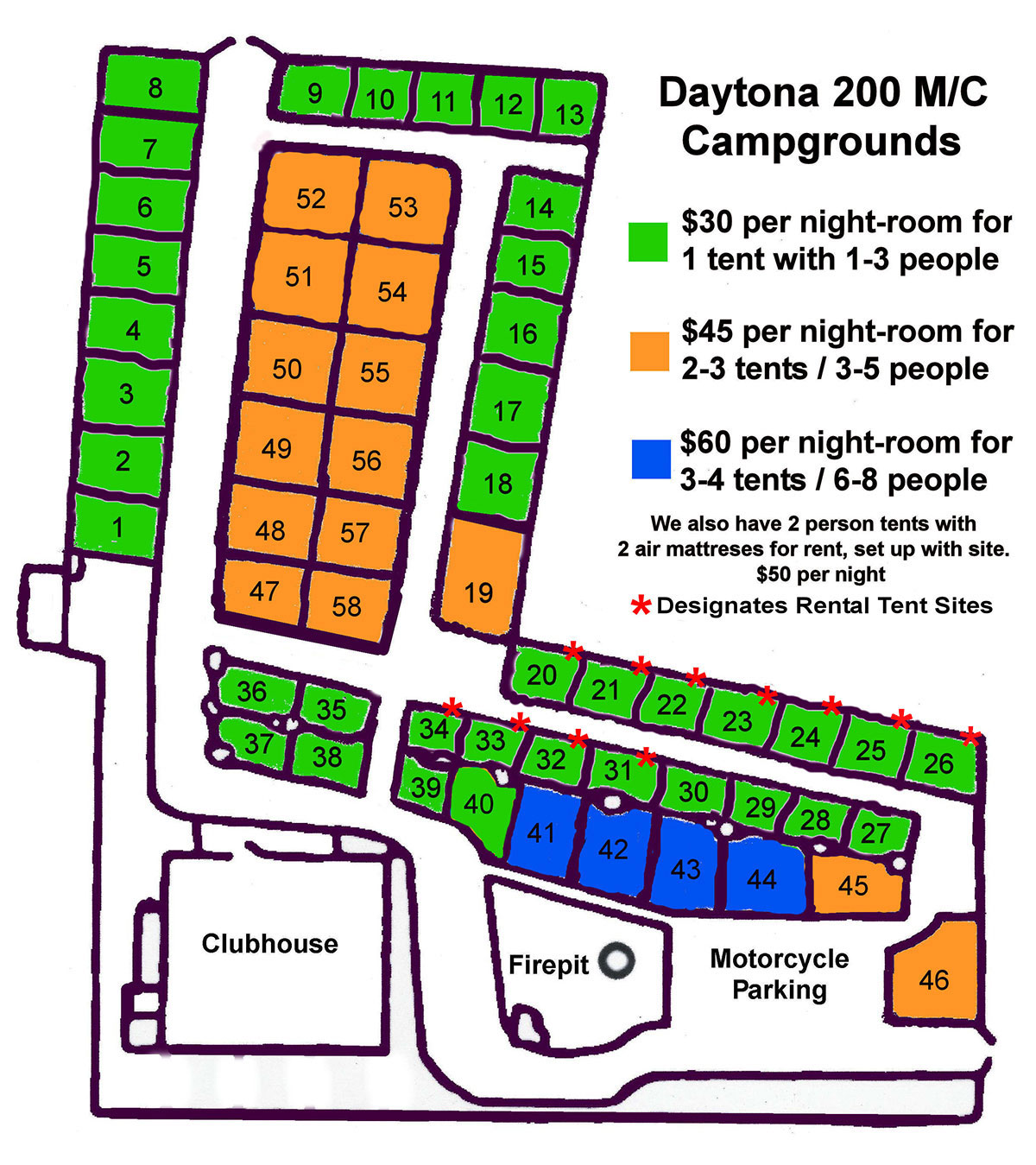 Daytona Beach Campground Layout